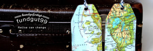 Retro-schick, Kofferanhänger aus alten Atlanten