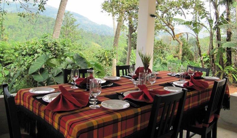 Sri Lanka im März: So schön isst es sich sonst selten. Grün, nichts als grün sieht man vom schicken Ellerton aus!