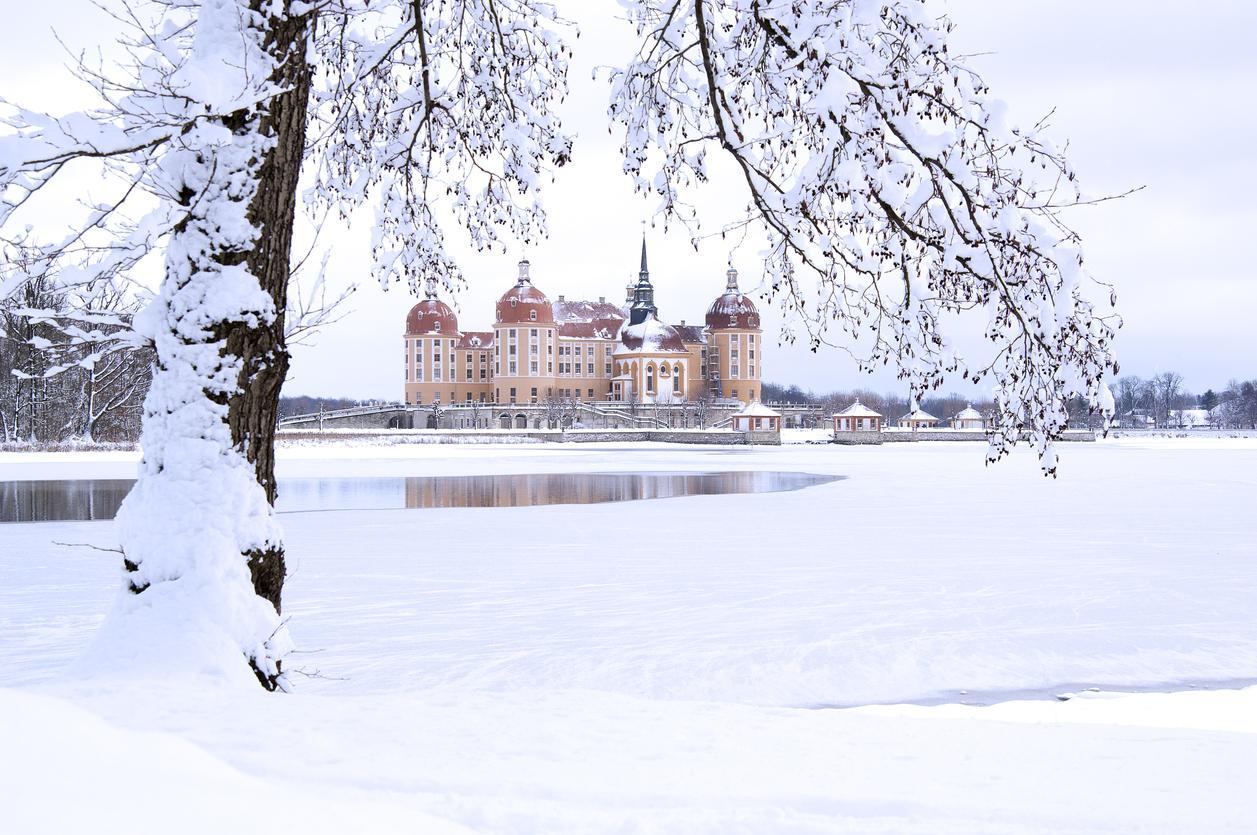 Familienausflug im Winter zu Schloß Moritzburg