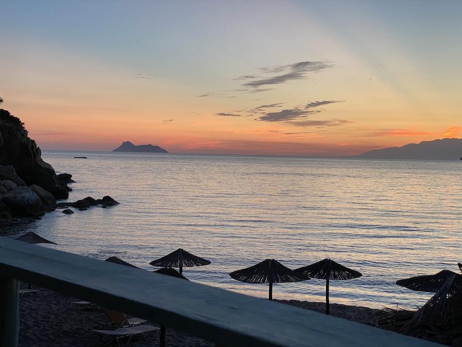 Sonnenuntergang am Kommos-Strand im Süden der Insel