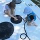 Kinderbeschäftigung an der Schleuse: Leinen-Schnecken drehen