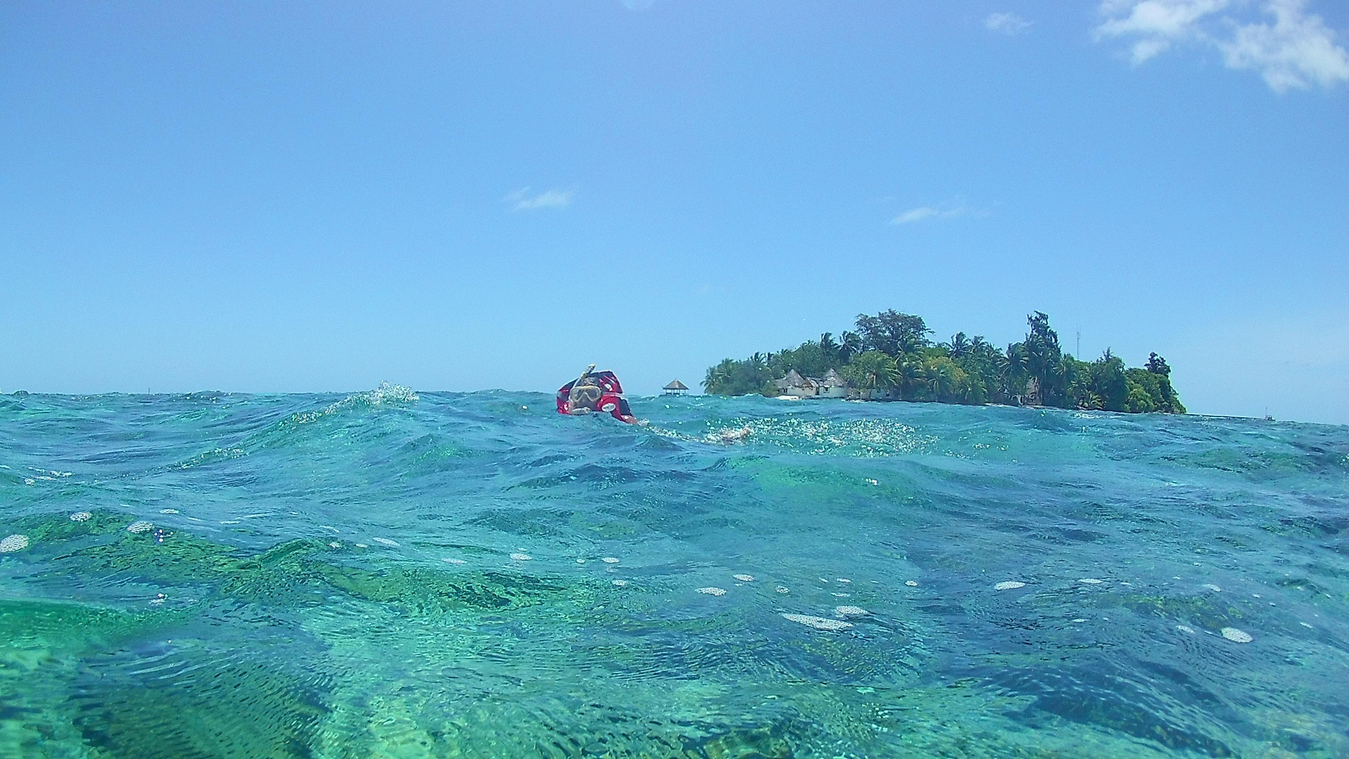 Eine Mini-Insel im Meer und ein wundervolles Riff drum rum.