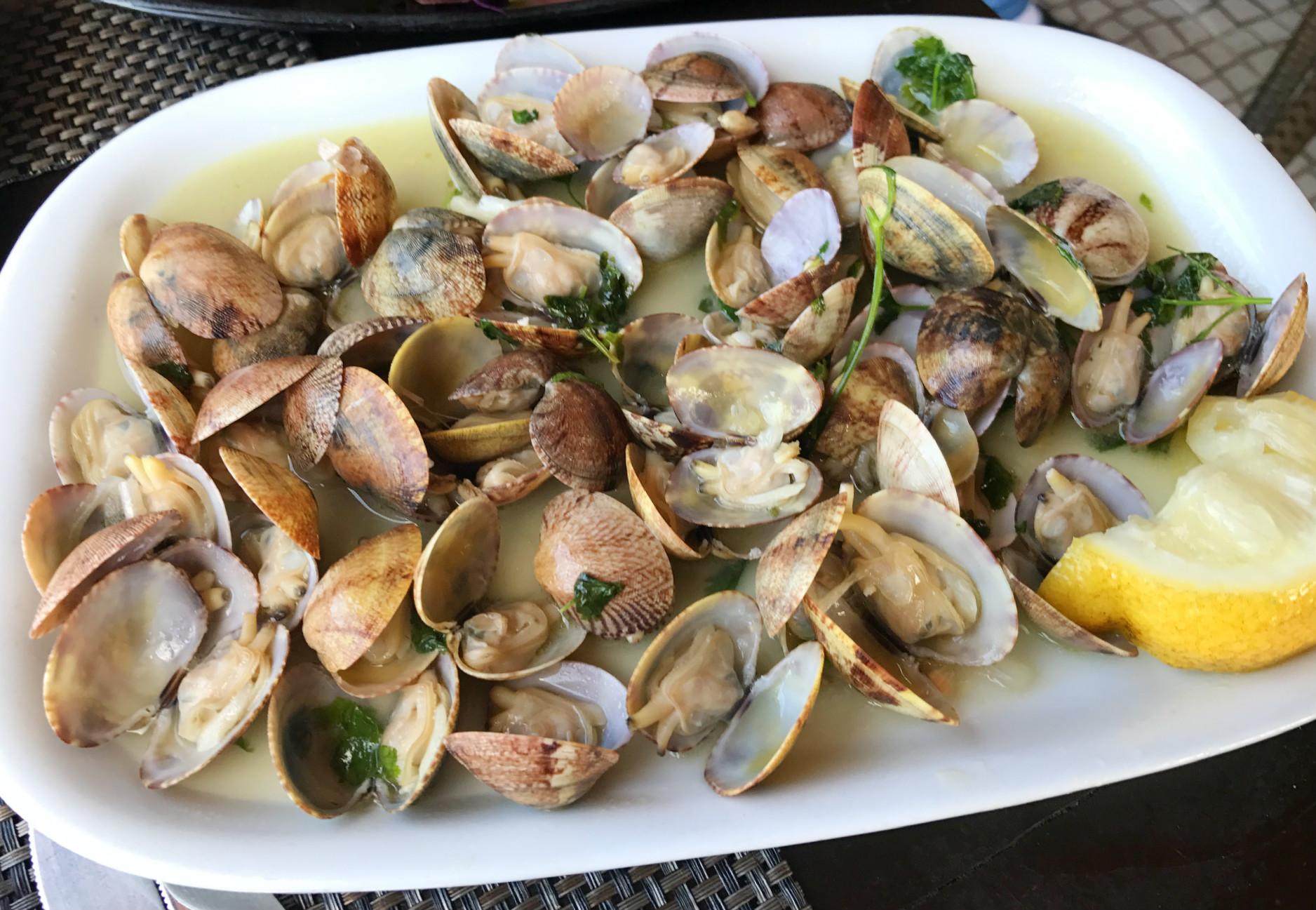 Muscheln, Fisch, Garnelen. Das schmeckt in Portugal natürlich alles herrlich!