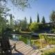 Mittelpunkt des Gartens und Highlight der Kids: Der Natur-Badeteich mit flachem Einstieg