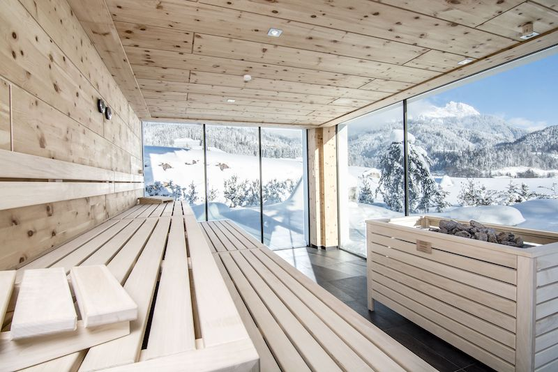 Saunaausblick im Winter